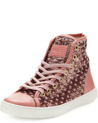 RED Valentino Polka Dot Sequined High Top Sneaker Pinkmulti
