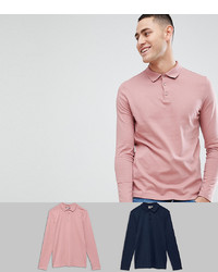 ASOS DESIGN Long Sleeve Polo In Jersey 2 Pack Save