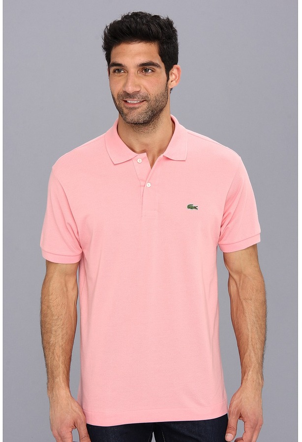 802c5b5859f ... Pink Polos Lacoste L1212 Classic Pique Polo Shirt Short Sleeve Knit ...
