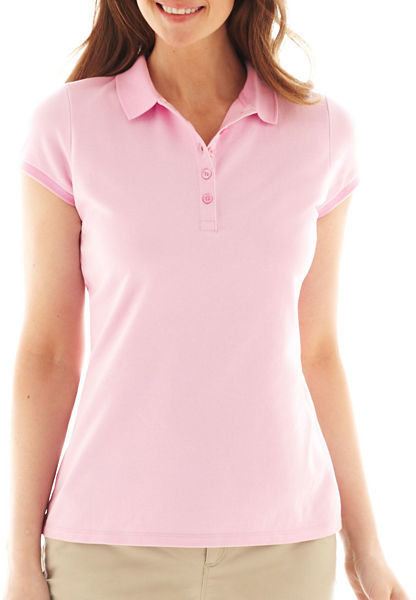 Liz claiborne short sleeve polo shirt petite where to for Jcpenney ladies polo shirts