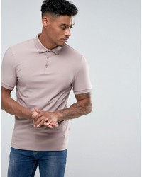 Asos Muscle Polo In Jersey With Button Down Collar In Pink