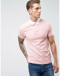 Asos Muscle Rugby Polo Shirt In Pink