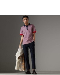 Burberry Two Tone Stripe Knitted Detail Cotton Polo Shirt