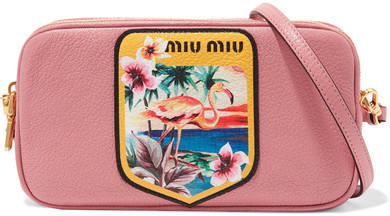 3a3c98125587 Miu Miu Printed Textured Leather Camera Bag Pink, $455 | NET-A ...