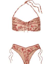 Zimmermann Castille Ruched Printed Halterneck Bikini