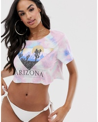 ASOS DESIGN Jersey Beach Crop Top In Tie Dye With Arizona Motif