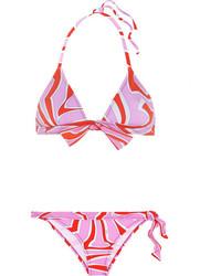 Emilio Pucci Printed Triangle Bikini Pink