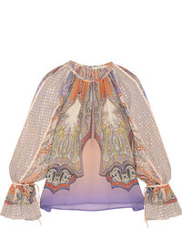 Etro Printed Silk Chiffon And Fil Coup Blouse Pink