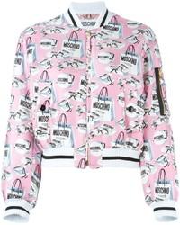 Pink Print Bomber Jacket