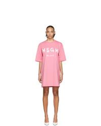 MSGM Pink Artist Logo T Shirt Dress