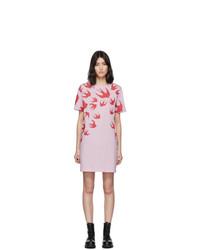 McQ Alexander McQueen Pink Swallow T Shirt Dress