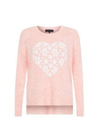 New Look Light Pink Lace Floral Print Heart Jumper