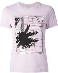 Pink Print Crew-neck T-shirt