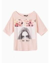 Choies Pink Girl Eyes Print T Shirt
