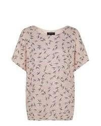 New Look Shell Pink Bird Print Oversized T Shirt