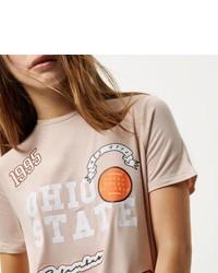 River Island Petite Pink Badge Print T Shirt