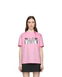 MSGM Pink Degrade Logo T Shirt