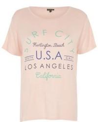 River Island Pink Surf City Print T Shirt