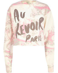Pink marble au revoir paris print sweatshirt medium 79658