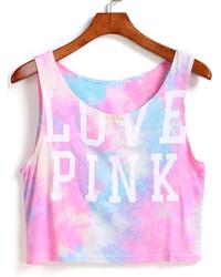 Letter Print Crop Pink Tank Top