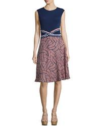 Diane von Furstenberg Rosalie Mixed Print Fit Flare Dress
