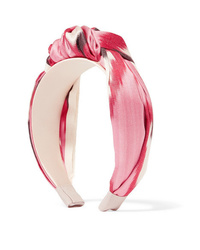 Jennifer Behr Ophelia Knotted Printed Cotton And Twill Headband
