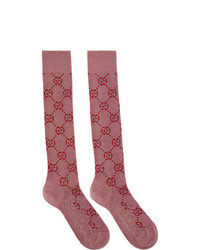 Gucci Pink And Red Lame Gg Socks