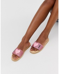 Love Moschino Signature Heart Sandals In Pink