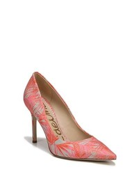 Pink Print Leather Pumps