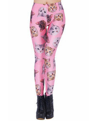 Cats heads print pink leggings medium 46110