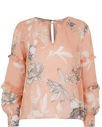 River Island Pink Floral Print Blouse