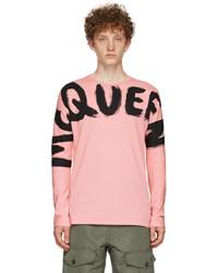 Alexander McQueen Pink Graffiti Kimono Sleeve Long Sleeve T Shirt