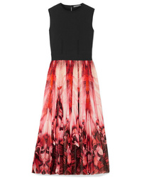 Alexander McQueen Stretch Jersey And Printed Stretch Knit Midi Dress