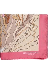 Richard James Abstract Dune Pocket Square Pink