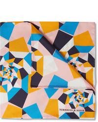 Turnbull & Asser Geometric Print Silk Twill Pocket Square