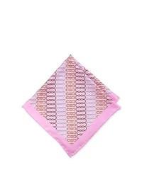Neiman Marcus Handmade Squiggle Pocket Square Pink