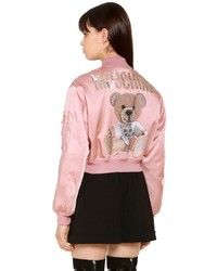 Moschino Envers Satin Bomber Jacket W Bear Patch