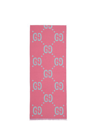Gucci Blue And Pink Jacquard Wool Gg Scarf