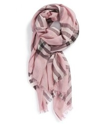 Giant check print wool silk scarf medium 103127