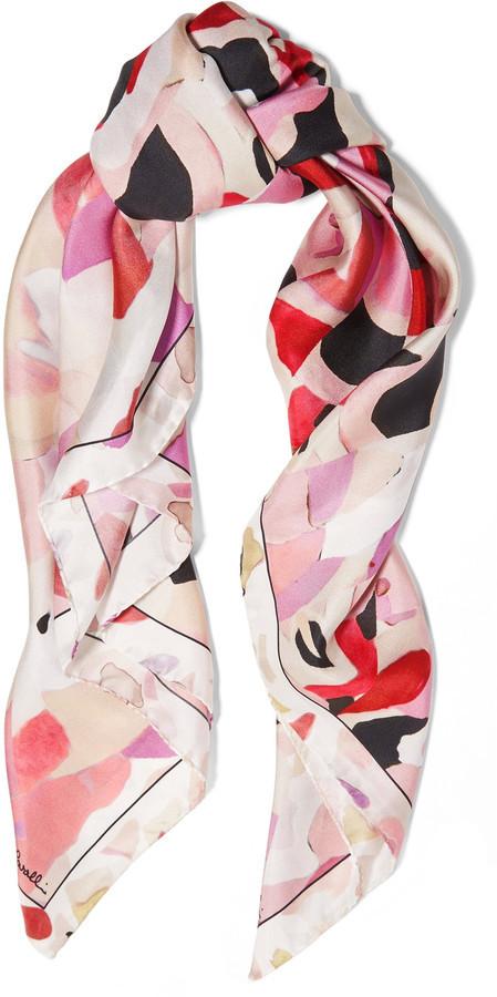 Roberto Cavalli Kaleidoscope Floral Printed Silk Scarf