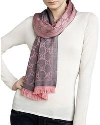 Logo print wool scarf graphitepink medium 874388