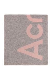 Acne Studios Pink And Grey Logo Scarf