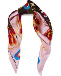 Mary Katrantzou Printed Silk Twill Scarf Pink
