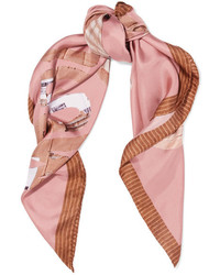 Moschino Teddy Printed Silk Satin Scarf Pink
