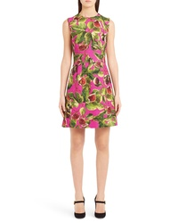 Dolce & Gabbana Fig Print Brocade A Line Dress
