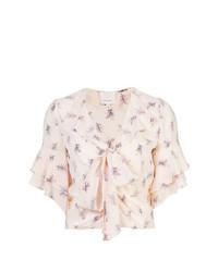 Pink Print Short Sleeve Blouse