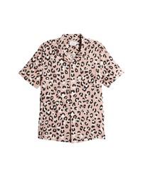 Topman Leopard Print Short Sleeve Button Up Camp Shirt