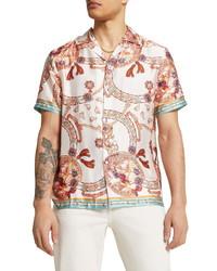 River Island Scarf Print Short Sleeve Button Up Camp Shirt