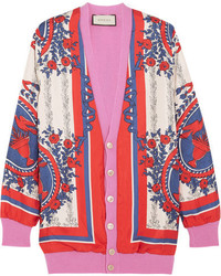 Wool blend trimmed printed silk cardigan pink medium 740978
