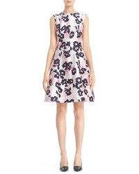 Oscar de la Renta Floral Print Silk Cotton Mikado Dress